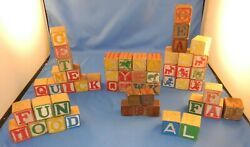 Lot Of 52 Misc. Letter And Picture Wooden Blocks-disney Characters