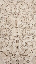 Bohemian Antique 1930-1940and039s Distressed Wool Pile Oushak Area Rug 6x9ft