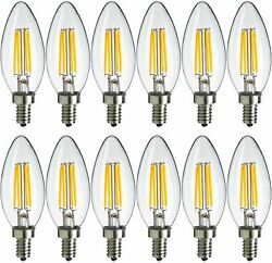 12x Maxlite Led Chandelier Bulbs 4w40w Enclosed Fixture Rated Dimmable E12