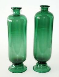 19c Pair English Birmingham 18 Tall Footed Green Glass Bottle Vases Fla