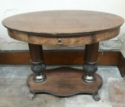 Antique 41 Tiger Oak Claw Foot Oval Parlor Lamp Library Table From W And H Walker