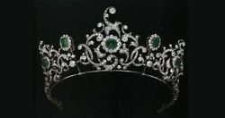 Vintage Style Tiara Green Emerald Round Halo 925 Sterling Silver Cz Head Jewelry