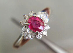 0.68ct Round Marquise Diamond Real Ruby Gemstone 14k White Gold Ring Size 7 To 9