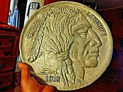 1918 Indian Head Wall Plaque Cast From Solid Aluminum