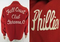 1950and039s Wool Baseball Jacket High School Letterman Phillies Full Count Club