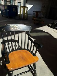 50 Down Victorian Antique Barrel Back Captains Windsor Chair W/ Eagle Inlay