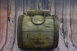 1800and039s Antique Huge Wooden Vessel Canteen Keg Rum Whiskey Barrel Wrought Iron
