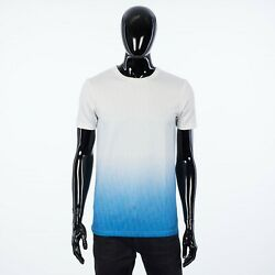 Dior 750 White And Blue Gradient Jersey T-shirt With All-over Dior Oblique Motif