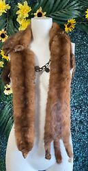 """Vintage Mink Shoulder Stole Wrap 4 Pelts 53"""" Long Collar With Head Tail And Feet"""