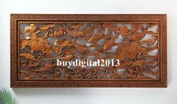 Chinese Camphorwood Lucky Nine Carp Fish Wall Hanging Wood Tablet Plaque Board