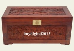 Chinese Camphorwood Handcarved Wood Lucky Dragon Phoenix Jewelry Box Case Casket