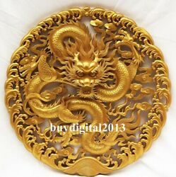 China Basswood Auspicious Dragon Paly Bead Wall Hanging Wood Tablet Plaque Board