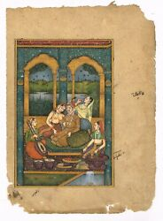 Mughal Miniature Old Painting Emperor And Nude Empress Enjoying Music With Dance