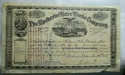 Rare 1868 Stock Certificate 30 Shares Of 50 Rochester Water Works Bonds