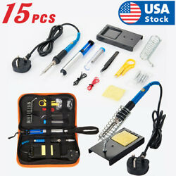 15Pcs Soldering Tips Iron Kit Electronics60W Adjustable Temperature Welding Tool