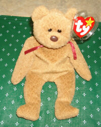 Ty Beanie Baby 1996curlythe Bear Style 4052 Brown Nose Tag Errors Rare P.v.c.