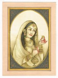 Indian Miniature Painting Of Mewar Queen Holding Wine Pot And Wine Glass On Paper