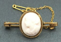 Vintage Shell Cameo Womens Brooch & Rolled Gold Fashion Jewelry