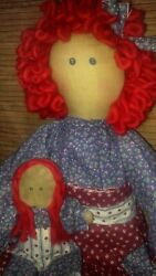 Primitive Decor Raggedy Ann Style Doll And Baby