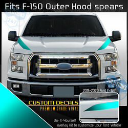 For 2015-2020 Ford F-150 F150 Hood Spears Outer Stripe Decals Satin Matte Chrome