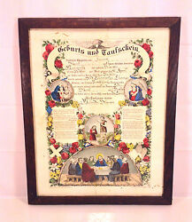 Antique 1873 Fraktur Currier And Ives Birth And Christening Document Lebanon Cty Pa