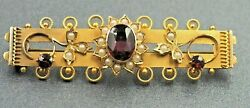 Women's BROOCH 9ct Gold Garnet & Pearls VINTAGE Fashion Collectable Jewellery