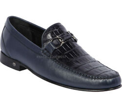 Menand039s Lombardy By Los Altos Genuine Caiman Belly Dress Shoes Metal Bit Loafers
