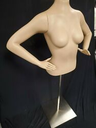 Female 1/2 Torso Mannequin With Stand New In Box With Arms, Hands