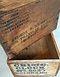 Antique Sessions And Colorado Clock Lot Wooden Crates Advertising Clocks Box