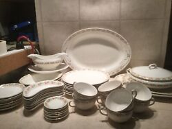 Vtg Edwin M. Knowles China Set Semi- Vitreous Set For 8 + Serving Dishes 48 Pc