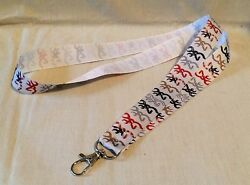 Browning 2 Inspired Lanyard Lightweight Key Chain With Ribbon Camo Flag Blue