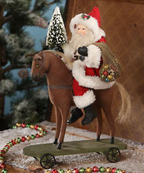 Bethany Lowe Designs Christmas Small Santa On Pull Toy Horse Td7681