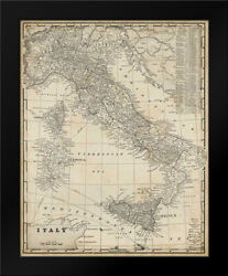 Framed Art - Antique Map Of Italy - Vision Studio - W/frame Size And Styles