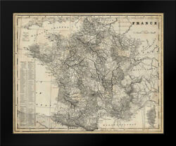 Framed Art - Antique Map Of France - Vision Studio - W/frame Size And Styles