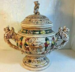 Vintage Tureen / Bowl With Lid With Gnomes Gryphons And Cat Eating Fish