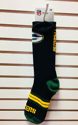 Green Bay Packers Black Socks Crew Length Size Large New