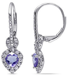 Cyber Monday 1.12ct Natural Diamond Sapphire 14k Solid White Gold Hoops Earring