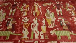 Clarence House Zambezi Red High End African Linen Velvet Fabric 4.2 Yards 51w