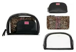 VICTORIAS SECRET 3 in 1 BEAUTY BAG SET CLEAR COSMETIC NESTED TRIO MAKEUP CASE $18.75