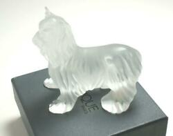 LALIQUE CHIEN DOG STANDING YORKSHIRE TERRIER FROST CRYSTAL FIGURINE PAPERWEIGHT