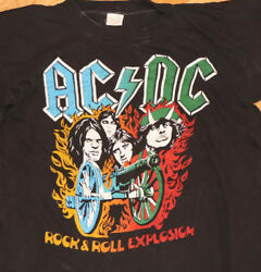 1980and039s Ac / Dc Vintage Rock Concert Tour T-shirt M/l Rare 70and039s 80and039s Acdc 1982