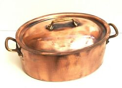 Gaillard Recent New Tin French Oval Copper Stew Pot Pan Cocotte Casserole 12