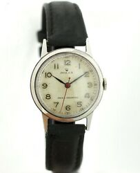 Vintage Rolex 3617 Stainless Steel 30mm Winding Leather Strap Wrist Watch