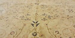 Antique 1940-1950and039s Distressed Wool Pile Old Muted Dye Oushak Area Rug 6x9ft
