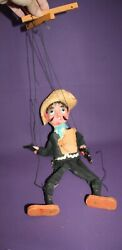Vintage Mexican Man Marionette Wooden Sombrero Pistols String Puppet