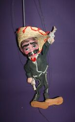 Vintage Mexican Sombrero Man Marionette Puppet With Pistols