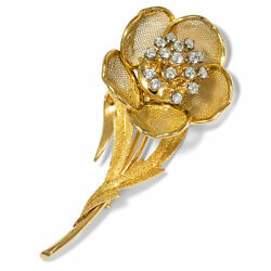 France um 1965: Enchanting Diamond Brooch Rose with Brilliant in 750 Gold