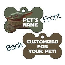 Baby Yoda The Mandalorian Double Sided Pet Id Dog Tag Personalized for Your Pet $16.97
