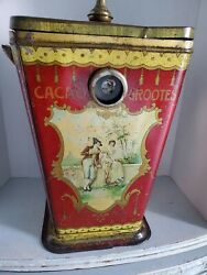 Rare Huge Antique Cacao Grootes Store Tin Dutch Chocolate Bin Gorgeous Colors