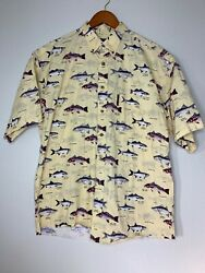 North River Button Shirt Mens Sz L Yellow SS Fish All Over Casual Outdoors $16.99